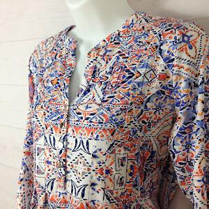 Studio Works women sz PM floral multicolor v-neck flared long bell sleeve blouse