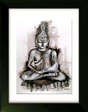Original ART with Frame - the Path - Buddha - Art by SLAZO - 16x20