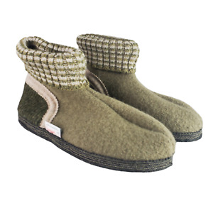 Austrian Boiled Wool Slipper Ankle Boot Womens 8 Green Beige Non Slip Sole