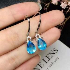 4Ct Pear Cut Blue Topaz Delicate Drop/Dangle Hook Earrings 14K White Gold Finish