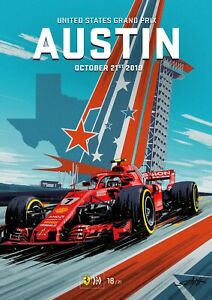United States Grand Prix, Austin, October 2018, Car Racing Poster