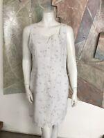 Sigrid Olsen Linen Shift White Sport Floral Dress SZ 10