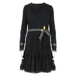 Meadham Kirchhoff Black Wool Boucle Dress UK10 IT42
