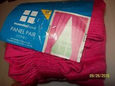 """Essential Home Lot of 2 HOT PINK Sydney 78 x 63"""" Panel Pair Curtains-NEW"""