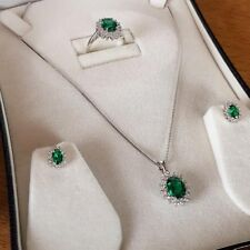 White gold finish green emerald and created diamond gift set boxed free postage