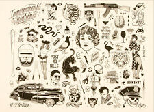 Mike Giant RESIST 2016 print poster tattoo art rebel 8 americana flash snake