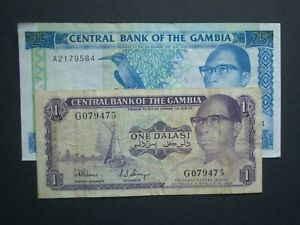 **No.2 Collectable Gambia 1& 25 1971/91 NVF/GVF Banknotes***