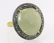 Genuine Fancy Sapphire & Rose Cut Diamond 18k 925 Silver Victorian Dinner Ring