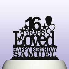 Personalised Acrylic Boy/Girl Sweet 16th Birthday Years Loved Theme Cake Topper