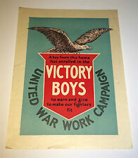 Antique WWI United War Work Campaign Patriotic Eagle Victory Boys Window Poster!