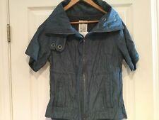 Free People Blue Denim Zip-Up Short Sleeve Jacket, Size XS, NWT! $118