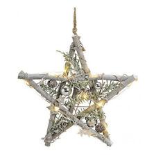 Weihnachts-Stern Holz 10 LED-Lichter mit Deko Kugeln Beleuchtung Fensterbild
