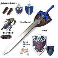 Legned of Zelda Link Cosplay Real Steel Gift Set LARP master sword shield combo