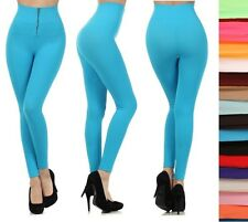 NWT STRETCHY HIGH WAIST FRONT ZIPPER SOFT LEGGINGS SKINNY PANTS MANY COLORS!