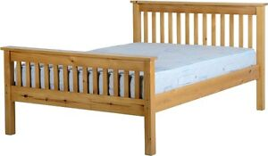 Monaco 4ft6 Double Antique Pine High Foot End Solid Bed Frame