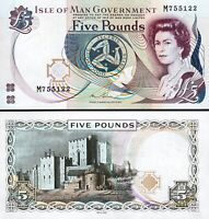 Isle Of Man 5 Pounds 2015, UNC, P-48a, Sign-8, Que II, DLR