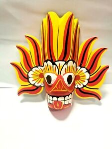 Hand carved Wood Wall Art Décor Home Décor Cultural Colorful Mask Sculpture
