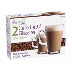 2x Latte Glasses 240ml for Tea Cappuccino Glass Tassimo Costa Coffee Cups Mugs