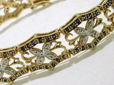 B047 Genuine 9ct Gold NATURAL Diamond & Sapphire Filigree Wide Bracelet Bangle