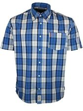 Men's Button Down Short Sleeve Check Cotton Casual Shirts & Tops