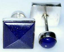 Blue Lapis Lazuli Sterling SILVER Cufflinks 4 Gemstones 925 Cuff Links Mens Gift