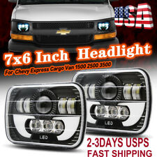 "Pair 7""x6"" Sealed LED Headlight For Chevy Express Cargo Van 1500 2500 3500 Truck"
