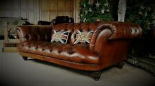 LARGE TETRAD GRAND TOUR OSKAR TAN BROWN LEATHER CHESTERFIELD 3/4 SEAT CLUB SOFA