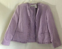 Alfred Dunner Faux Suede Open Front Jacket Purple Floral Laser Cut Size 12P