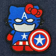 """HELLO KITTY AS CAPTAIN AMERICA EMBROIDERED IRON ON PATCH 3"""" x 3"""" FREE SHIPPING"""