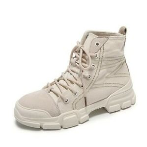Retro Women Round Toe Lace Up Military Desert Ankle Boots Work Shoes High Top sz
