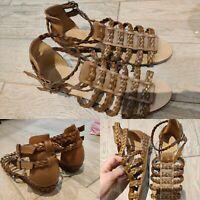 Women's ZARA Braided Ecru Sandals Size 5 EU38