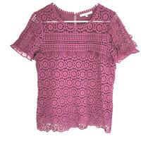 DANIEL RAINN Stitch Fix Purple Blouse Top Size Medium Floral Cutout Boho M