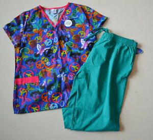 Womens NEW 1X Scrub Set Outfit Pattern 3 Pocket Shirt Solid 2 Pocket Pants