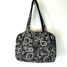 Thirty One Large Tote Bag Zip Around  Carry All Storage Black & White