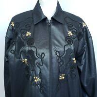 Vintage Saint Germain Paris Jacket Black Gold Studded Full Zip Lightweight USA