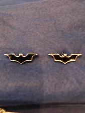 Bat man, cufflinks, cuff links, batman, silver metal, black and silver  bat logo