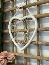 Wood String Mesh Hanging Heart Pegs Message Memo Board White Wedding Decoration