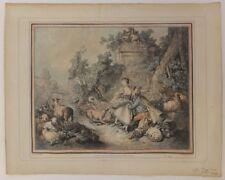 Demarteau gravure imprimée en couleurs XVIIIè S. dessin de Huet pastorale n°602