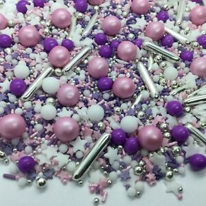 Mothers Day Cupcake Sprinkles Edible Cake Toppers Decorations Silver Pink Purple