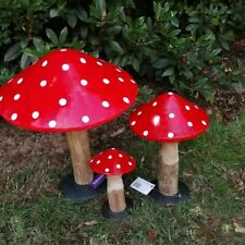 Primus Wood & Metal Toadstools Hand Painted 3 sizes to choose! Garden Decor