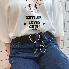 New Heart buckle kawaii Korean fashion ring faux leather belt black buckle chic