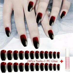 24Pcs Black-Red Gradient False Nails Coffin Shaped Fake Nail Manicure With Glue