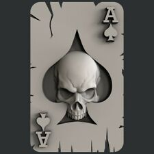 3d STL models for CNC, Artcam, Aspire, ace of spades skull