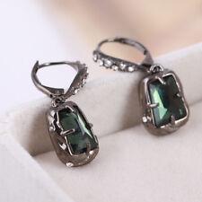 Alexis Bittar Emerald Green Quartz Gunmetal Crystal  Drop Earrings