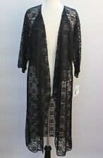 L - Large LuLaRoe Shirley Kimono Solid Black Lace Floral Lightweight Sheer NWT