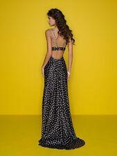 Mori Lee Black Polka Dot Mermaid Embellished Gown Prom Dress 8 * RARE! $550