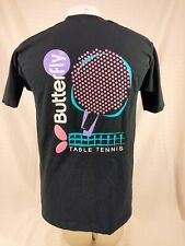 Vintage Butterfly Table Tennis Ping Pong Single Stitch Black T-Shirt Adult Sz L