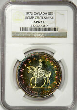 1973 $1 Canada RCMP Commem. Mountie SILVER Dollar - Nicely Toned NGC SP67* STAR!