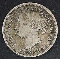 1870 10c Canada Wide O 10 Cents Victoria Silver Coin