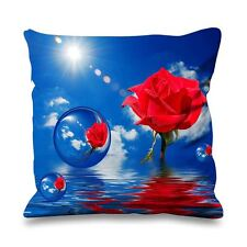 Red Rose Blue Sky with Bubbles Faux Silk 45cm x 45cm Sofa Cushion - Abstract
